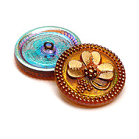 1pcs Czech Handmade Art Glass Button Round 27mm Topaz AB Gold Shamrock
