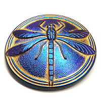 1pc Czech Handmade Art Glass Cabochon Round 40,5mm Jet Azuro Dragonfly Bronze Painted
