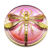 Czech Glass Handmade Cabochon Dragonfly Round Pink Vitrail Transparent 40mm