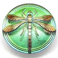 1pcs Czech Handmade Art Glass Button Cabochon Round 18mm Crystal Green Vitrail Gold Dragonfly