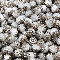 20pcs Czech Fire-Polished Faceted Glass Cathedral Lantern Round Beads 6mm Silky White Platinum Luste