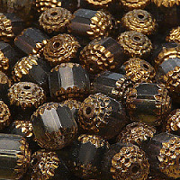 2pcs Czech Fire-Polished Faceted Glass Cathedral Lantern Round Beads 10mm Black Diamond Bronze Luste