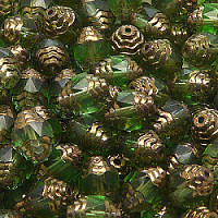 4pcs Czech Fire-Polished Faceted Glass Cathedral Olive Beads 10x8mm Green Peridot Copper Luster