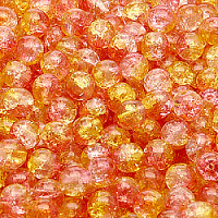 25pcs Czech Pressed Glass Cracked Round Beads 6mm Crystal Orange Yellow Two Tone Luster