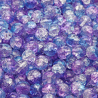 25pcs Czech Pressed Glass Cracked Round Beads 6mm Crystal Aqua Blue Violet Two Tone Luster