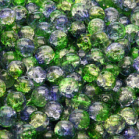 25pcs Czech Pressed Glass Cracked Round Beads 6mm Crystal Green Cobalt Blue Two Tone Luster
