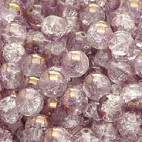10pcs Czech Pressed Glass Cracked Round Beads 8mm Crystal Semi Bronze Luster