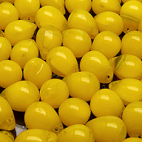 Czech Pressed Glass Beads, Drops Yellow Opal Translucent 10x14mm