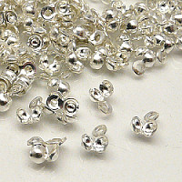 20pcs Jewelery Calottes With Eye 3x6mm Silver Plated