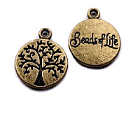 1pc Charm Pendant Coin Tree of Life Ø12mm Vintage Brass