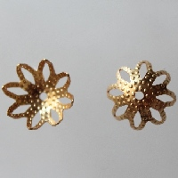 Bead Cap, Openwork Lily, 13mm, Gold Plated