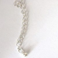 Chain extender 60mm with ball, silver plated