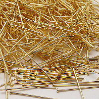 20pcs Head Pin Ø0,7mm x 40mm Gold Plated