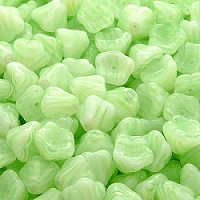 10pcs Czech Pressed Glass Bell Flower Beads 6x8mm White With Light Green Stripes