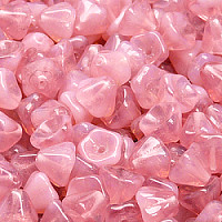 10pcs Czech Pressed Glass Bell Flower Beads 6x8mm Pink Opal