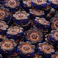 2pcs Czech Pressed Glass Flower Beads 14mm Sapphire Bronze Fired Color
