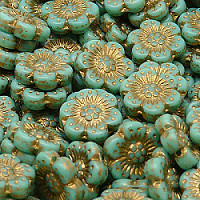 2pcs Czech Pressed Glass Flower Beads 14mm Opaque Green Golden Fired Color