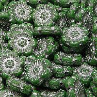 2pcs Czech Pressed Glass Flower Beads 14mm Opaque Green Silver Fired Color