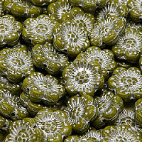 2pcs Czech Pressed Glass Flower Beads 14mm Opaque Olivine Silver Fired Color