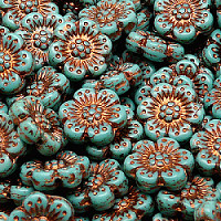 2pcs Czech Pressed Glass Flower Beads 14mm Opaque Turquoise Green Bronze Fired Color