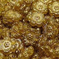 2pcs Czech Pressed Glass Flower Beads 14mm Amber Golden Fired Color
