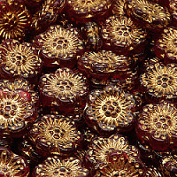 2pcs Czech Pressed Glass Flower Beads 14mm Ruby Golden Fired Color