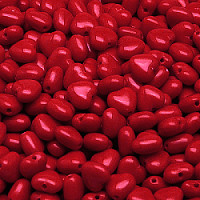 20pcs Czech Pressed Glass Heart Beads 6mm Opaque Red Coral