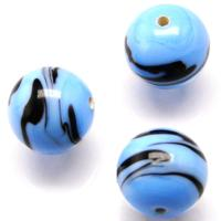 Czech Handmade Lampwork Beads, Round, Light Blue, Opaque, Black Stripes