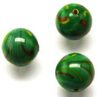 Czech Handmade Lampwork Beads, Round, Green, Opaque, Colour Stripes