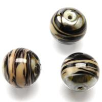 Czech Handmade Lampwork Beads, Round, Hematite, Opaque, Coffee Cream Stripe