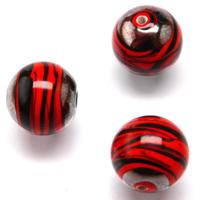 Czech Handmade Lampwork Beads, Round, Hematite, Opaque, Orange Stripe