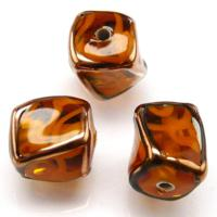Czech Lampwork Beads, Cubes Twisted, Topaz, Transparent, Copper Borders, Curles