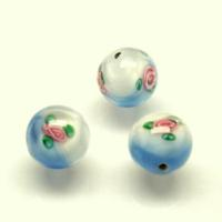 Czech Handmade Lampwork Beads, Round, Opaque, Blue/White, Flowers