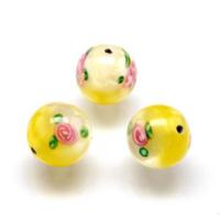 Czech Handmade Lampwork Beads, Round, Opaque, Yellow/White, Flowers