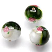 Czech Handmade Lampwork Beads, Round, Opaque, Dark Green/White, Flowers