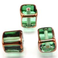 Czech Handmade Lampwork Beads, Cubes, Transparent, Light Peridot, Copper Borders