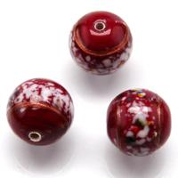 Czech Handmade Lampwork Beads, Round, Red, Opaque, White Stripe