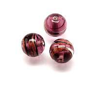 1pc Czech Handmade Glass Lampwork Bead Round 8mm Amethyst/ Jet-White-Avanturine Stripes