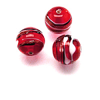 1pc Czech Handmade Glass Lampwork Bead Round 10mm Ruby/ Jet-White-Avanturine Stripes
