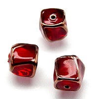 1pc Czech Handmade Glass Lamp Beads Twisted Cube 10mm Ruby Copper Edges