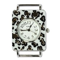 Watch Face Rectangular White Leopard 33x28mm/1.299x1.102in, silver plated