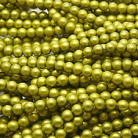 25pcs Czech Glass Imitation Pearl Round Beads 4mm Alabaster Olivine Matte