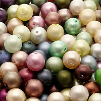 50gr Czech Pressed Glass Imitation Pearl Beads Round 8mm Color MIX Matte