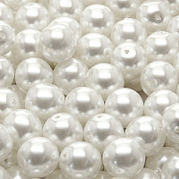 4pcs Czech Pressed Glass Imitation Pearl Beads Round 10mm Alabaster Snowy White