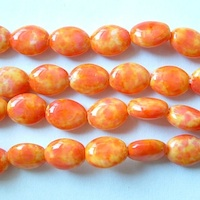 Czech Glass Pearl Beads - Stones, Olive, Fire Yellow, 9mm