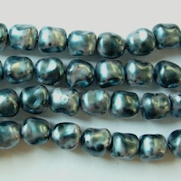 Czech Glass Pearl Beads - Stones, Potato, Pearl Dark Teal, 9mm