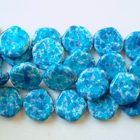 Czech Glass Pearl Beads - Stones, Pentagon, Blue, 15mm