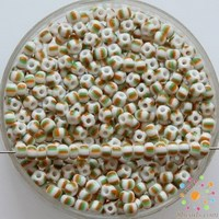 Czech Seed Beads Premium White/Green/Orange Opaque Striped 03960 9/0