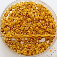Czech Seed Beads Premium Yellow/Red Opaque Striped 83170 8/0
