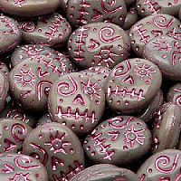 "4pcs Czech Pressed Glass Oval ""Voodoo Funny Face\"" Beads 16x13mm Opaque Gray Pink Fired Color"